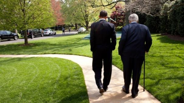 President Barack Obama and Senator Edward M. Kennedy walking on White HOuse grounds: Spring 2009