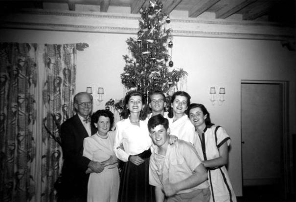 Kennedy Family in Palm Beach, Christmas 1948, clockwise from left: Joseph P. Kennedy, Sr., Rose, Eunice, Robert, Patricia, Jean and Edward